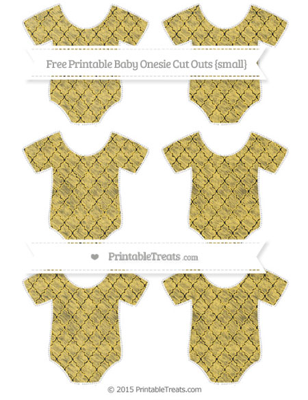 Free Mustard Yellow Moroccan Tile Chalk Style Small Baby Onesie Cut Outs