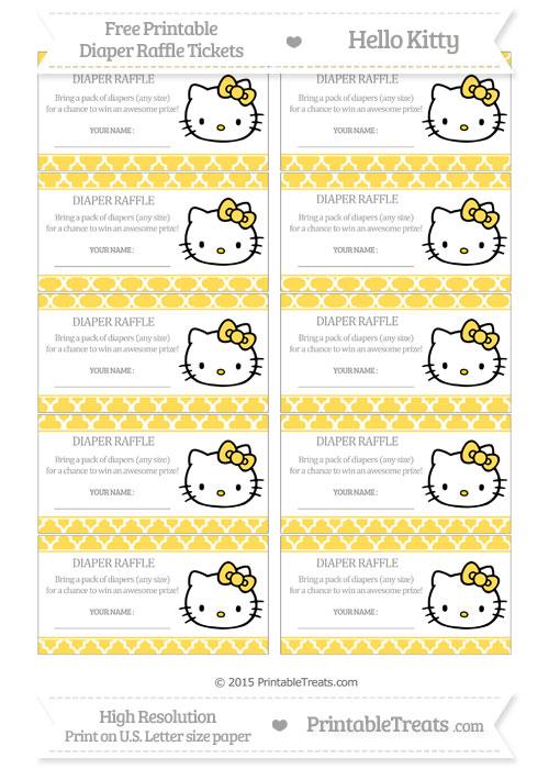 Free Mustard Yellow Moroccan Tile Hello Kitty Diaper Raffle Tickets