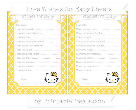 Free Mustard Yellow Moroccan Tile Hello Kitty Wishes for Baby Sheets