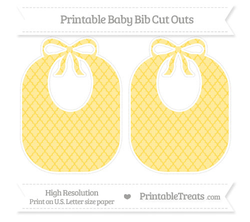 Free Mustard Yellow Moroccan Tile Large Baby Bib Cut Outs
