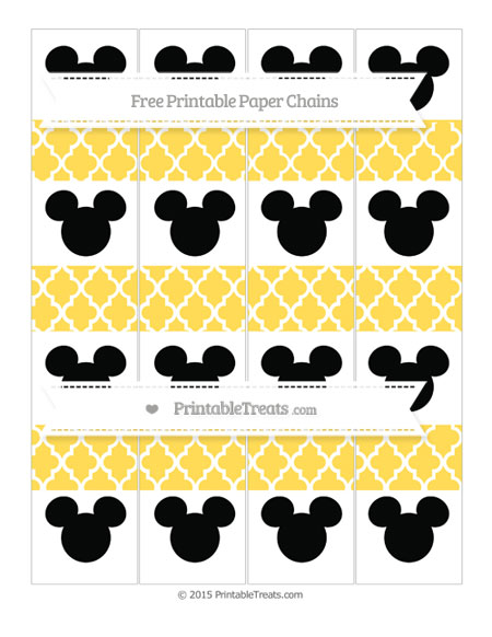 Free Mustard Yellow Moroccan Tile Mickey Mouse Paper Chains