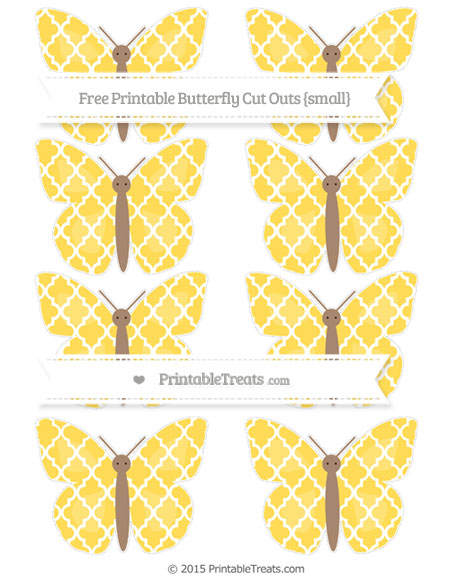 Free Mustard Yellow Moroccan Tile Small Butterfly Cut Outs