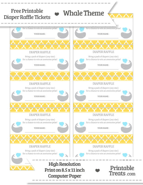 Free Mustard Yellow Moroccan Tile Whale Diaper Raffle Tickets