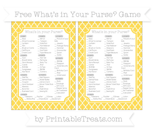 Free Mustard Yellow Moroccan Tile What's in Your Purse Baby Shower Game