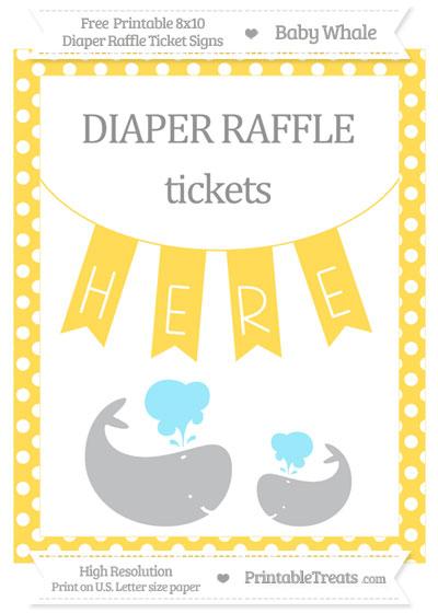 Free Mustard Yellow Polka Dot Baby Whale 8x10 Diaper Raffle Ticket Sign