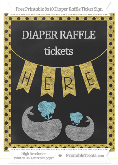 Free Mustard Yellow Polka Dot Chalk Style Baby Whale 8x10 Diaper Raffle Ticket Sign