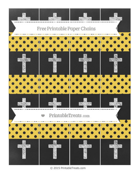 Free Mustard Yellow Polka Dot Chalk Style Cross Paper Chains