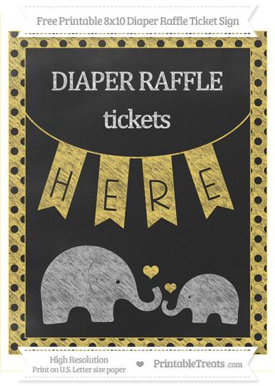 Free Mustard Yellow Polka Dot Chalk Style Elephant 8x10 Diaper Raffle Ticket Sign