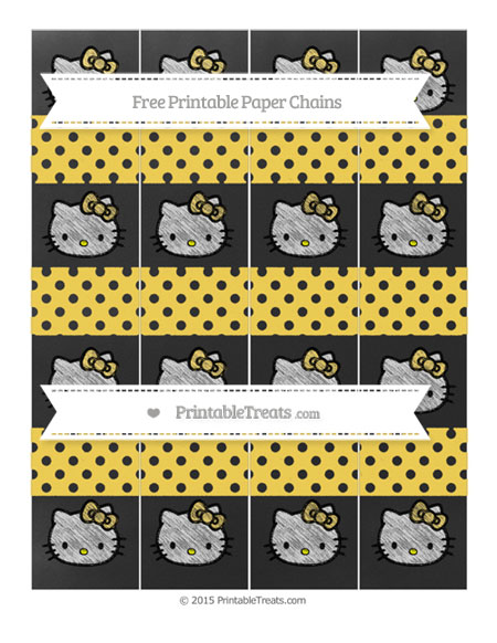 Free Mustard Yellow Polka Dot Chalk Style Hello Kitty Paper Chains
