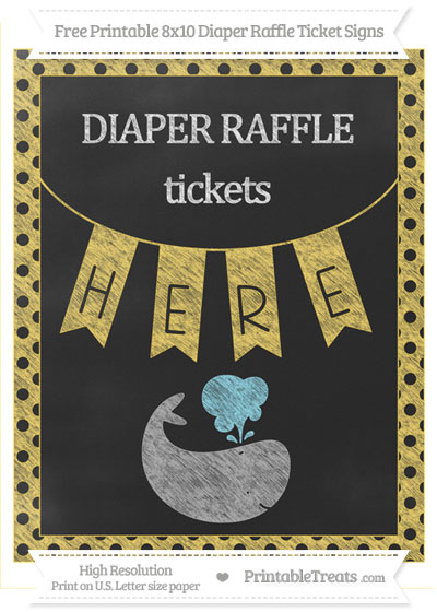 Free Mustard Yellow Polka Dot Chalk Style Whale 8x10 Diaper Raffle Ticket Sign