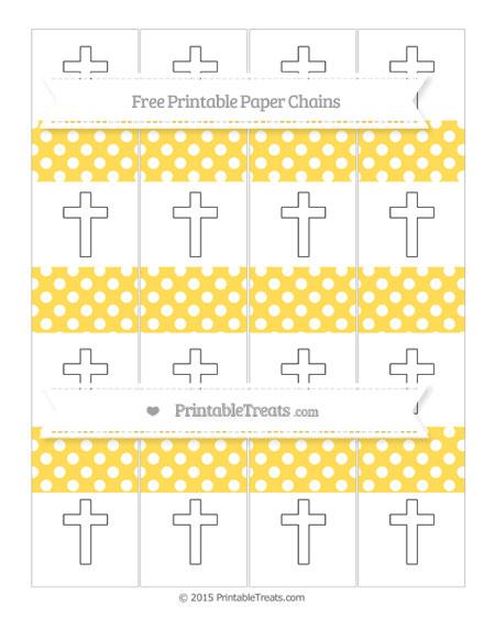 Free Mustard Yellow Polka Dot Cross Paper Chains