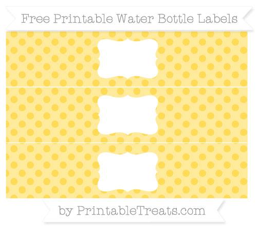 Free Mustard Yellow Polka Dot Water Bottle Labels