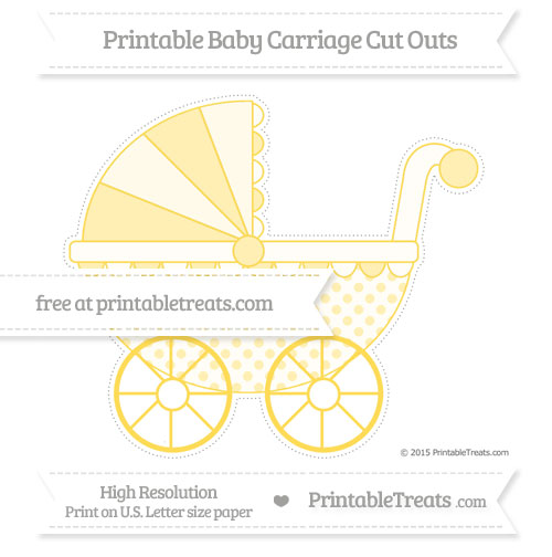 Free Mustard Yellow Polka Dot Extra Large Baby Carriage Cut Outs