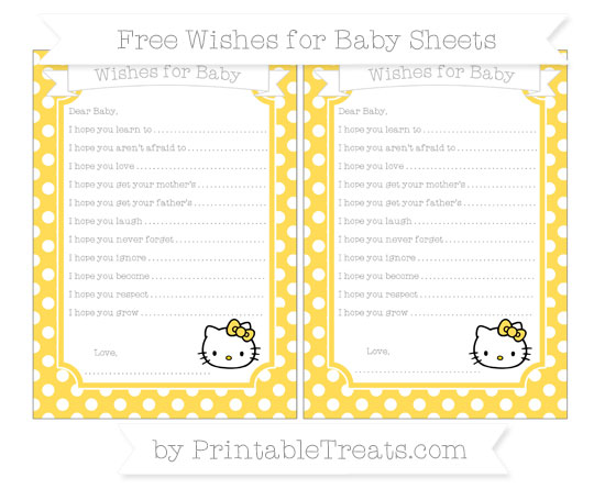 Free Mustard Yellow Polka Dot Hello Kitty Wishes for Baby Sheets