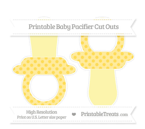 Free Mustard Yellow Polka Dot Large Baby Pacifier Cut Outs
