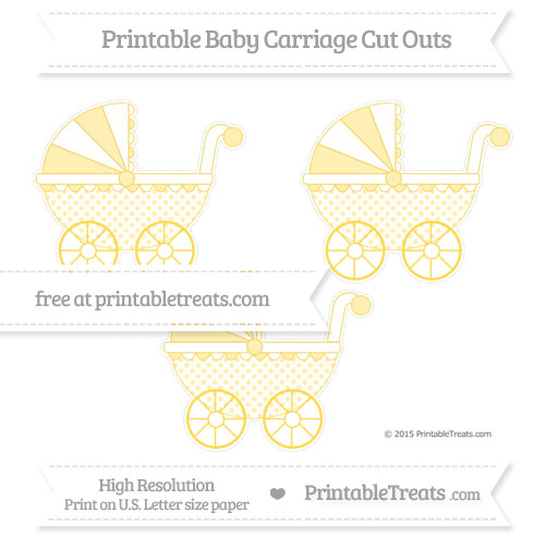 Free Mustard Yellow Polka Dot Medium Baby Carriage Cut Outs