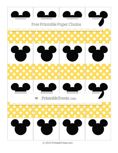Free Mustard Yellow Polka Dot Mickey Mouse Paper Chains