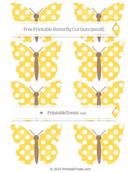 Free Mustard Yellow Polka Dot Small Butterfly Cut Outs