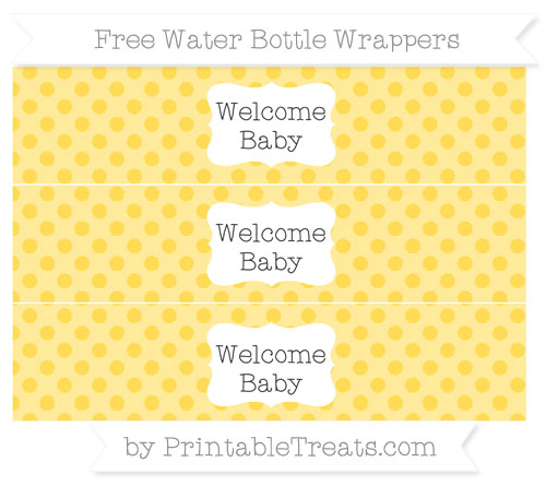 Free Mustard Yellow Polka Dot Welcome Baby Water Bottle Wrappers