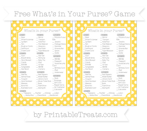 Free Mustard Yellow Polka Dot What's in Your Purse Baby Shower Game