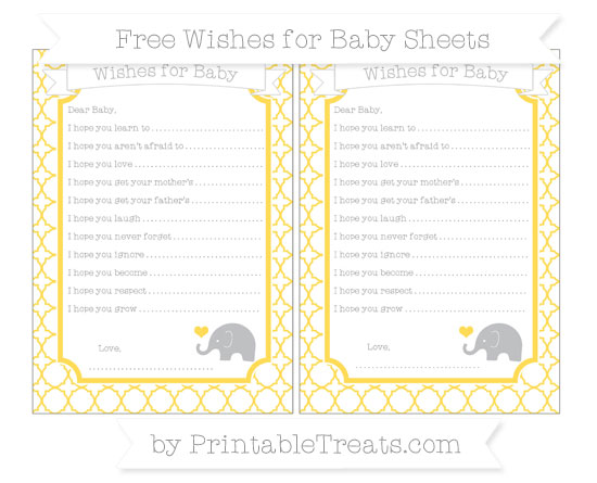 Free Mustard Yellow Quatrefoil Pattern Baby Elephant Wishes for Baby Sheets