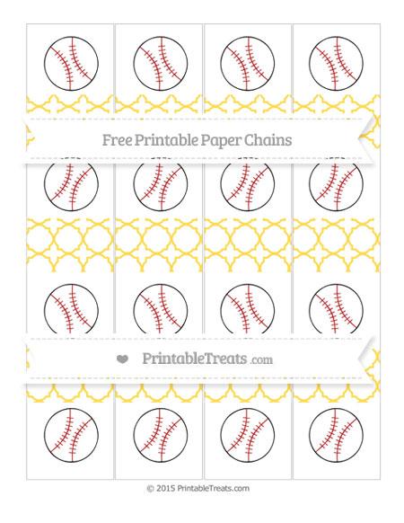 Free Mustard Yellow Quatrefoil Pattern Baseball Paper Chains