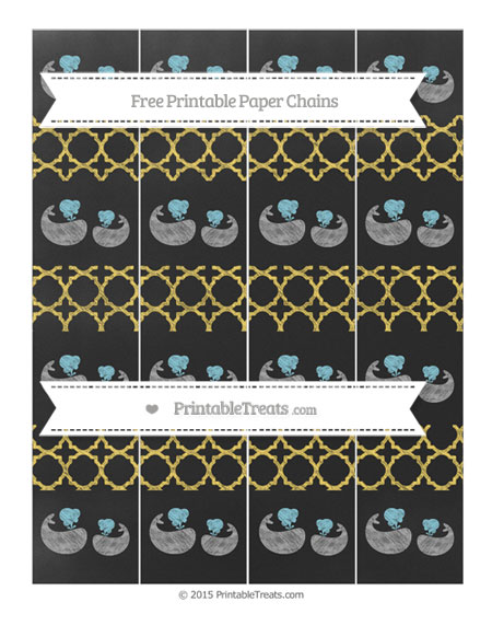 Free Mustard Yellow Quatrefoil Pattern Chalk Style Baby Whale Paper Chains