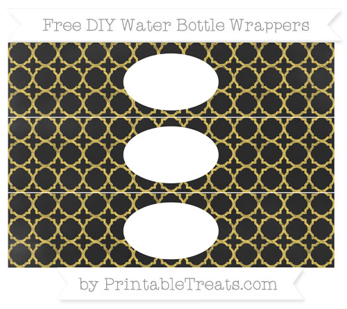 Free Mustard Yellow Quatrefoil Pattern Chalk Style DIY Water Bottle Wrappers