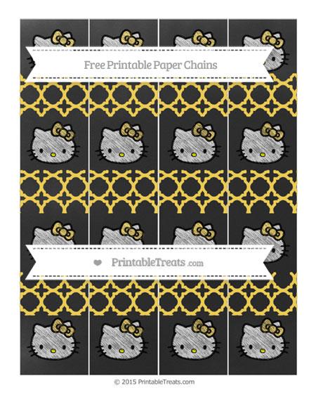 Free Mustard Yellow Quatrefoil Pattern Chalk Style Hello Kitty Paper Chains
