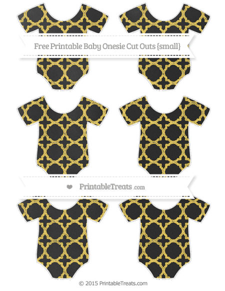 Free Mustard Yellow Quatrefoil Pattern Chalk Style Small Baby Onesie Cut Outs
