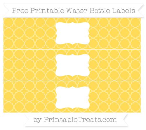 Free Mustard Yellow Quatrefoil Pattern Water Bottle Labels