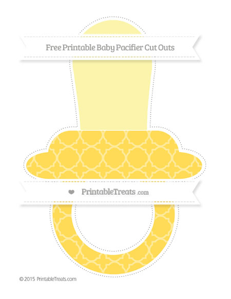 Free Mustard Yellow Quatrefoil Pattern Extra Large Baby Pacifier Cut Outs