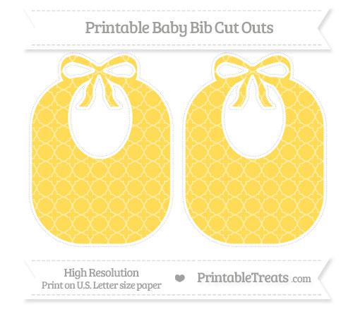 Free Mustard Yellow Quatrefoil Pattern Large Baby Bib Cut Outs