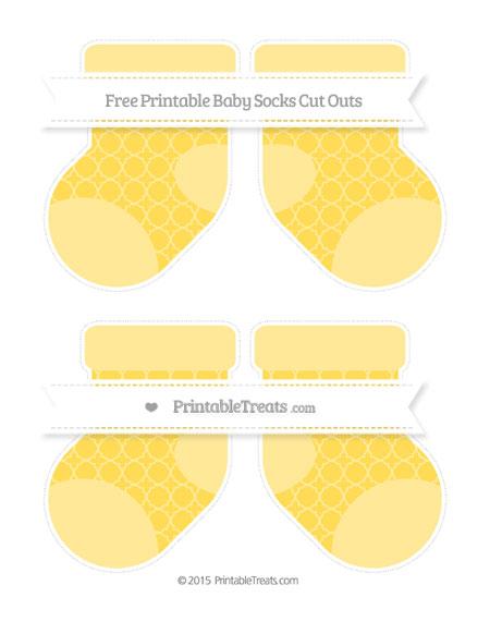 Free Mustard Yellow Quatrefoil Pattern Medium Baby Socks Cut Outs