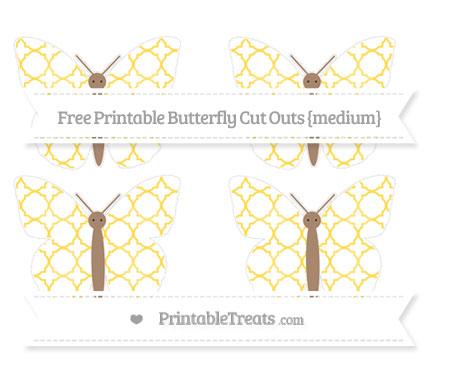 Free Mustard Yellow Quatrefoil Pattern Medium Butterfly Cut Outs