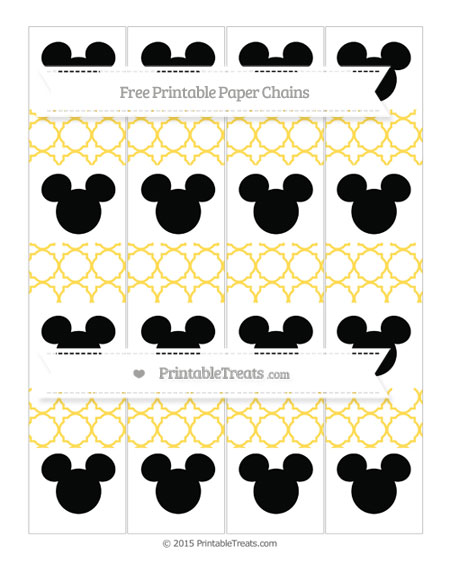 Free Mustard Yellow Quatrefoil Pattern Mickey Mouse Paper Chains