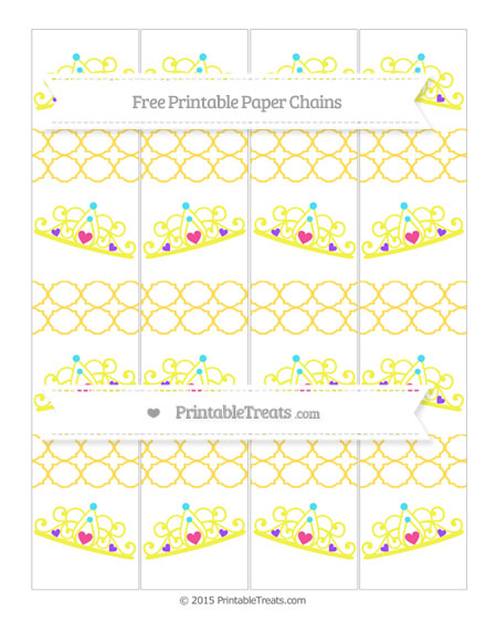 Free Mustard Yellow Quatrefoil Pattern Princess Tiara Paper Chains