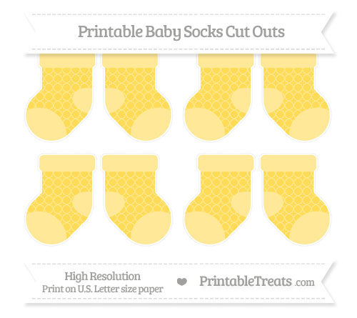 Free Mustard Yellow Quatrefoil Pattern Small Baby Socks Cut Outs
