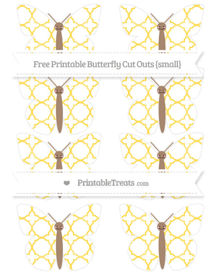 Free Mustard Yellow Quatrefoil Pattern Small Smiley Butterfly Cut Outs