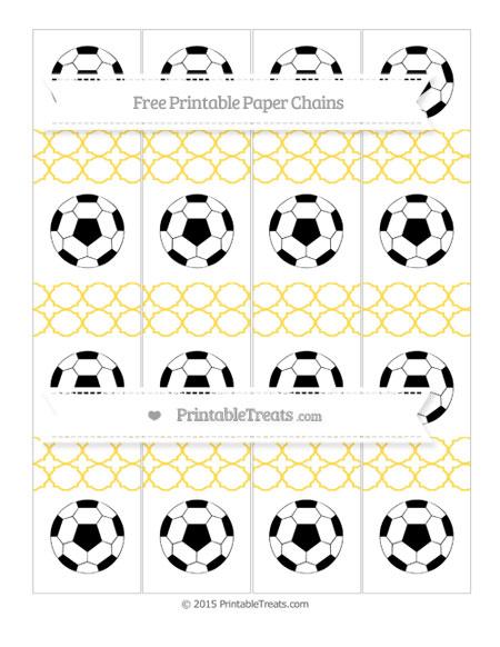 Free Mustard Yellow Quatrefoil Pattern Soccer Paper Chains