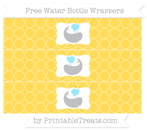 Free Mustard Yellow Quatrefoil Pattern Whale Water Bottle Wrappers