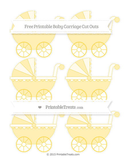 Free Mustard Yellow Small Baby Carriage Cut Outs