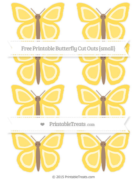 Free Mustard Yellow Small Butterfly Cut Outs