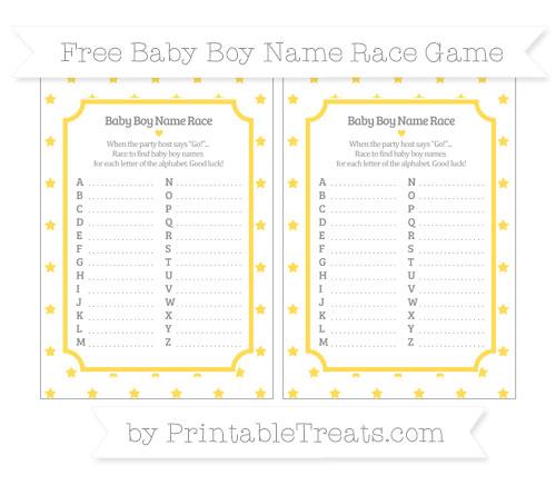Free Mustard Yellow Star Pattern Baby Boy Name Race Game
