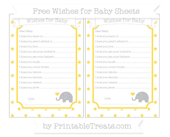 Free Mustard Yellow Star Pattern Baby Elephant Wishes for Baby Sheets