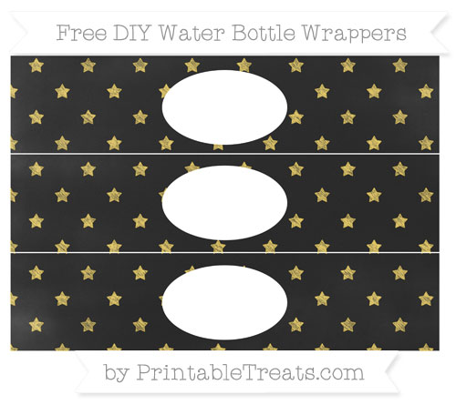Free Mustard Yellow Star Pattern Chalk Style DIY Water Bottle Wrappers