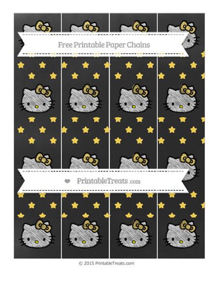 Free Mustard Yellow Star Pattern Chalk Style Hello Kitty Paper Chains