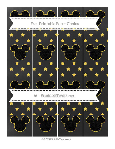 Free Mustard Yellow Star Pattern Chalk Style Mickey Mouse Paper Chains