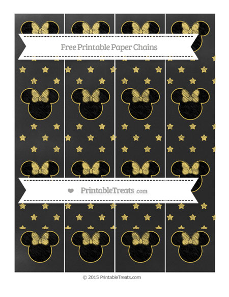 Free Mustard Yellow Star Pattern Chalk Style Minnie Mouse Paper Chains