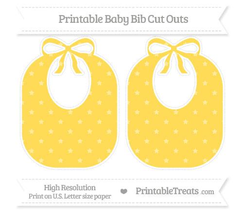 Free Mustard Yellow Star Pattern Large Baby Bib Cut Outs